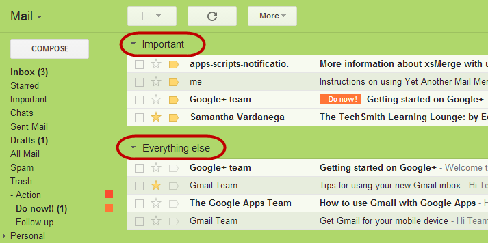 Gmail Important first inbox style