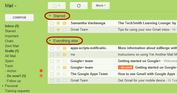 Gmail Starred first inbox style