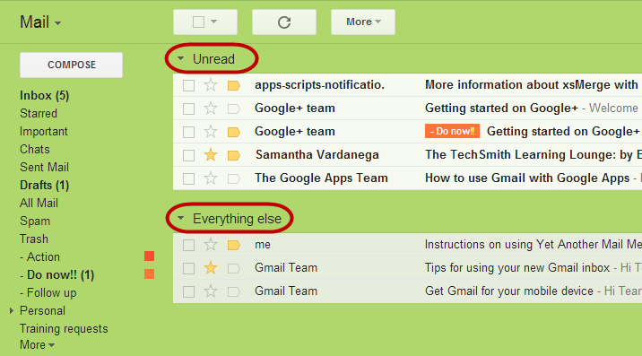 Gmail Unread first inbox style