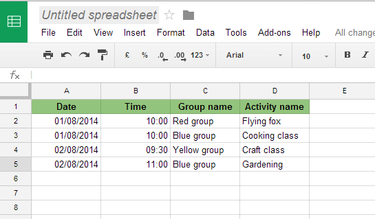 Sample table in Google Sheets