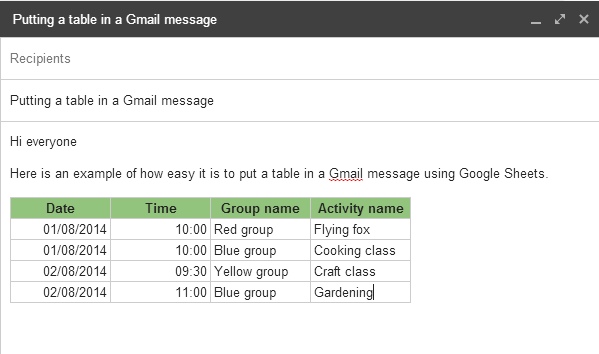 Table in Gmail message