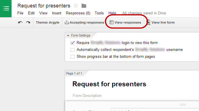 Screenshot of view responses button