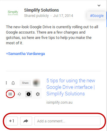 Google plus post interaction buttons