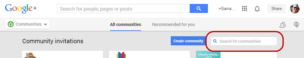 Search communities box