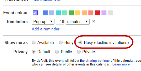 Busy - decline invitations option