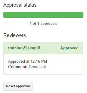 Workflow approval status in doc